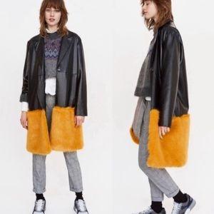 Zara Black Faux Leather Jacket Faux Fur S NWOT